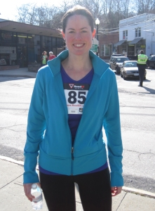 This is me a couple of years ago, after running a 5k. It sure was nice (for me and everyone else) to have a clean pair of stockings to change into.